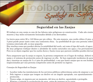 Toolbox talk Spanish